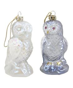 This Crystal Owlet Ornament Set is perfect! #zulilyfinds
