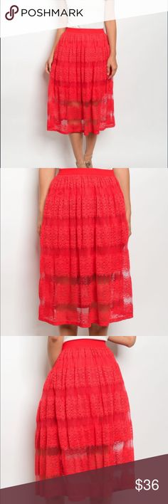 """""""Piper"""" Fiery Red Lace Skirt Fiery Red Lace Midi-Skirt. Red underlining with a patterned lace overlay. Elastic wide-band waist allows for the perfect 'poof' of the skirt to give it a lively feel as you walk and twirl. Perfect for the holidays! Fede en Fashion Skirts Midi"""