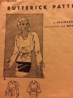 Butterick 5243   ca. 1933 Misses' blouse