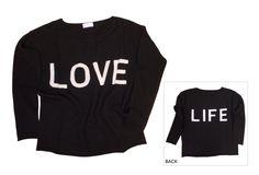 30214-109 / Colour: Black / Silver gray / Brand: herzensangelegenheit / Size: 34, 38 / Print Front: love - Back life ***100% Cashmere #musthave #lovelife