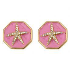 Starfish Enamel Earrings, Gold Pink