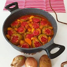 Stuffed Peppers with Olive Oil Recipe – yemektarifleri Mince Meat, Ratatouille, Pumpkin, Yummy Food, Stuffed Peppers, Meals, Canning, Hot, Ethnic Recipes