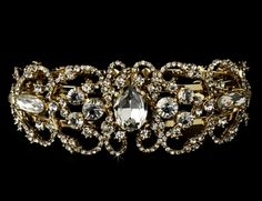6e6870ce298 Gold plated Crystal Bracelet for the bride! Bridal Cuff