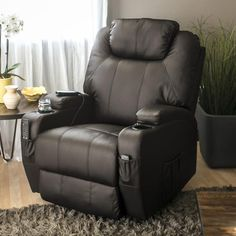 COMFORTABLE RECLINER: Soft, padded, faux leather upholstery has a classic appeal and provides ultimate comfort with the bonus of easy cleanup REMOTE CONTROL: Designed with an attached remote control that lets you easily adjust massage intensity, heating, and choose from 5 different modes TARGETED HEAT & VIBRATION: