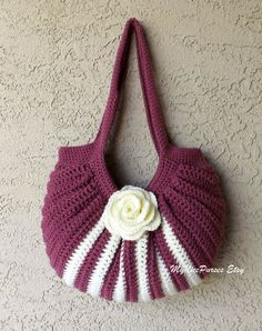 Crochet fat bottom summer shoulder bag fashion by MyNicePurses, $35.00