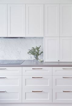 Love the seamless look of f the rangehood marble backsplash gray countertops a G. Love the seamless look of f the rangehood marble backsplash gray countertops a Gray Kitchen Cabinets Backsplash countertops Gray Love Marble rangehood seamless, Kitchen Cabinets And Backsplash, Kitchen Cabinet Doors, Grey Cabinets, White Kitchen Cabinets, Shaker Style Cabinets, Appliance Cabinet, Bathroom Cabinets, Cupboards, Home Decor Kitchen