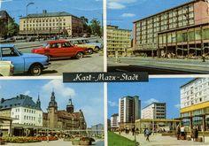 Germany - Saxony - Chemnitz - 1970 - front | Splittin' the view #03 Split Up Communism #65  1970 splitview card from Germany / Deutschland (former GDR / DDR), Saxony / Sachsen, Chemnitz (former Karl-Marx-Stadt), featuring TRABANT 601 (x4), WARTBURG 353 (x2) + 311 + 311 Tourist (x2!),  ŠKODA 1000MB, BARKAS MB1000 pick-up, tram, bus and more