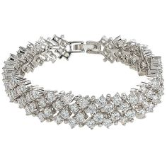 EVER FAITH© Round Full CZ Austrian Crystal Bridal Tennis Bracelet Clear Silver-Tone ** Click now. Unbelievable jewelry right here! : Jewelry