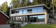 A villa in Rykkinn, Norway Glass House Design, Modern House Design, Scandinavian Style Home, Hillside House, Concrete Houses, Dream House Exterior, Forest House, New House Plans, Architecture Details