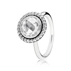 #PANDORA ring in sterling silver with round checkerboard cut cubic zirconia centre stone and 26 cubic zirconia. @ Lyle Husar Designs | Brookfield WI #lylehusar #pandora