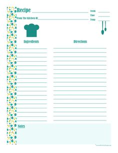 Teal Cookware Full Page Recipe Card.