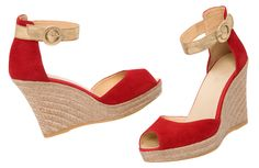 Portrait of a lady in red – RAQUEL wedge espadrilles made in Spain - at www.espadrillesetc.com