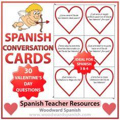 Spanish Conversation Cards with 30 questions about Valentine's Day. (Level: Spanish 3) - Tarjetas de conversación con 30 preguntas acerca del Día de San Valentín.