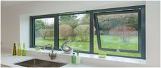 reports local double glazing installers offer the best prices on replacement windows. Get up to four double glazing quotes from local suppliers Grey Windows, Casement Windows, House Windows, Kitchen Windows, Grey Window Frames, Küchen Design, House Design, Design Ideas, Aluminium Windows And Doors