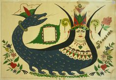 """The shahmaran, legendary snake woman of Eastern Anatolia, reverse glass painting.  From the Baski Museum in Turkey.  Read the article, """"Art from the Periphery,"""" by Catherine Bayar in HandEye magazine.  Photo: Gulin Tasdelen."""