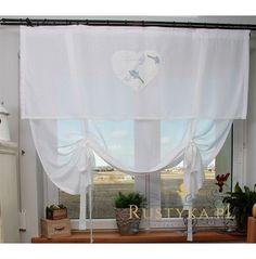 Firana biała z sercem lawenda Valance Curtains, Shabby Chic, Home Decor, Decoration Home, Room Decor, Home Interior Design, Valence Curtains, Home Decoration, Kleding