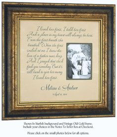 Personalized Picture Frame Mother Of The Bride Groom Wedding Gift For Parents By PhotoFrameOriginals
