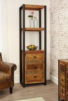 Baumhaus Urban Chic Alcove Bookcase (with drawers) - Reclaimed Wood - Steel Bookshelf, Tall Bookshelves, Bookcase With Drawers, Timber Furniture, Reclaimed Wood Furniture, Contemporary Furniture, Home Furniture, Contemporary Bookcase, Urban Furniture