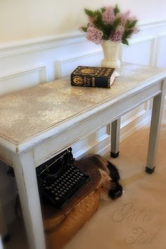 One Girl In Pink: Stencilled Leather Top Console Table - How To