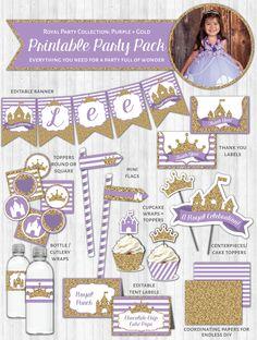 Princess Party Printable Decor Pack: Purple & Gold Glitter