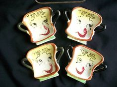 VTG ANTHROPOMORPHIC BUTTER TEABAG BAG DISH HOLDERS RACK