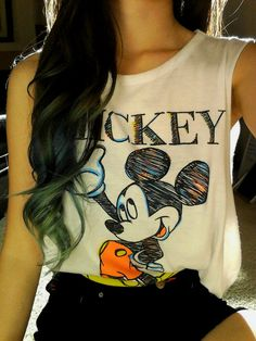 Mickey shirt <3 THIS SHIRT I TRIED ON AND IT LOOKED SUPER CUTE ON ME OMGG I WANT TO BUY IT.