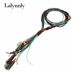 Fashion Women Vintage Statement Necklace National Long Necklace Handmade Leather rope Measly Maxi Necklace Fine Jewelry N31511