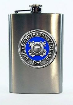 USCG Coast Guard 8 oz Stainless Hip & Travel Flask - Pewter & Enamel by Heritage Metalworks. $35.00. Our 8-ounce United States USCG Coast Guard Pewter Logo with Enamel Emblem stainless steel spirit flask has a high-polished brush finish and captive top. The 2.5-inch diameter emblem is pewter with an extra measure of silver added for a brilliant shine. The military branch color enamel makes this flask a standout! This flask makes the perfect gift and is easily engraved by your ...