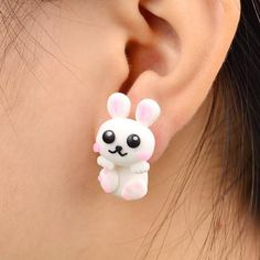 Happy Bunny Handmade Polymer Clay Animal Stud Earrings – D'aww Factory