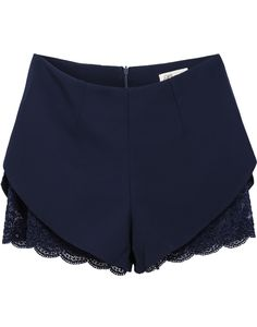 Navy Zipper Lace Straight Shorts - Sheinside.com