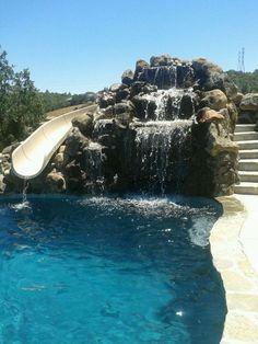 Swim Up Bar W/ Grotto & Water Slide