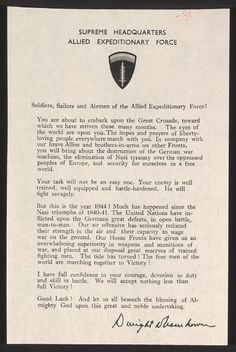 Supreme Command, Allied Expeditionary Force: Order of the Day, 6 June 1944
