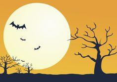 フリーイラスト 満月とコウモリと枯れ木のハロウィンの背景