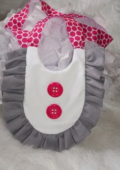 MOD Ruffle Baby Bib  - Gray / GREY / Hot PINK  Retro Bib, Baby Shower Gift, Photo Prop. $15.99, via Etsy.
