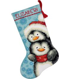 Dimensions Hugging Penguins Stocking Needlepoint Kit