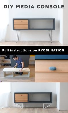 """Looking to add some modern style to your home? This entertainment console idea by HomeMade Modern Expert Ben Uyeda is the perfect solution for fashion and function. Visit RYOBI Nation for complete instructions on how you can make this beautiful DIY Console with a sheet of ¾"""" plywood, some cedar clapboard siding and some copper pipe."""