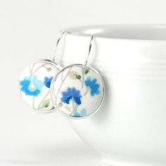 Drop Earrings Turquoise Flowers Leverback Earrings Cyan Blue Floral Silver Toned Dangle Earrings White Fabric Covered Button Wedding Jewelry by PatchworkMillJewelry
