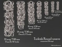 Turkish Round weave.  Size comparison chart for different ring sizes based on 39 rings.