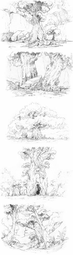 Ideas Nature Landschaft Zeichnung - New Ideas Tree Sketches, Drawing Sketches, Pencil Drawings, Art Drawings, Sketching, Wind Drawing, Drawing Trees, Landscape Drawings, Landscape Design