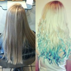 Before and after dip dye dipdyed hair blonde and blue hairdressing hairdresser hair salon straight long hair