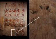 MASTABA: In der Mastaba des ägyptischen Wesirs Ptahhotep haben Mitglieder von Cosmic Conspiracies auf Bildern, welche frei im Internet verfügbar waren die Darstellung eines Aliens gesehen. Dieser ist ganz untypisch für ägyptische Darstellungen nicht von der Seite, sondern in Frontalansicht, abgebildet.