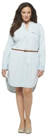 Women's Plus Size Denim Shirt Dress Light Blue-Merona®