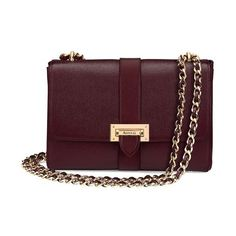 Aspinal of London Large Lottie Bag In Burgundy Saffiano ($1,045) ❤ liked on Polyvore featuring bags, handbags, shoulder bags, burgundy saffiano, crossbody, chain strap purse, cross-body handbag, leather shoulder bag, chain strap crossbody and purple leather purse