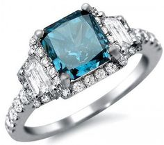Square blue diamond ring