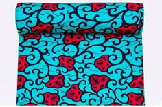 Blue and Pink Petal African Fabric Textile Ankara Wax by Diutobaby, $7.00