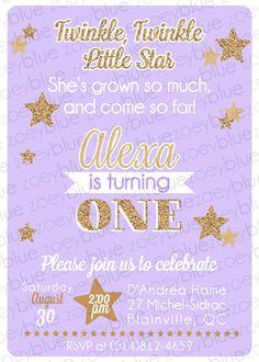 First Birthday Girl Invitation Photo Card Lavender Purple Gold - First birthday invitations girl purple