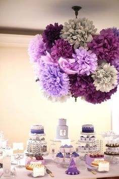 lavendar color decorations, paper poms, dessert table, purple ombre party, first birthday, any kind of party