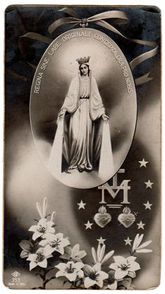 Queen conceived without original sin, pray for us.     A vintage Italian devotional image of Our Lady of the Miraculous Medal.