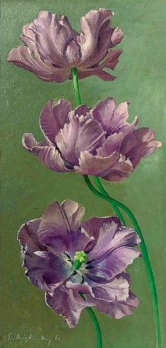 """""""Tulips"""" (1961) by Eliot Curwen Hodgkin, born June 19, 1905, Purley-on-Thames, United Kingdom and died May 30, 1987, London England at age 81. An English painter of still life."""