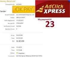 AdClickXpress is the right business vehicle to achieve financial freedom  Date: 01/07/2015  To Pay Processor : OK Pay Amount: 4.8 Currency: USD Batch: 4332981 Memo: API Payment. Ad Click Xpress Withdraw 4343128-19763 Join : http://www.adclickxpress.com/?r=ympnm6c6cwfx&p=aaa